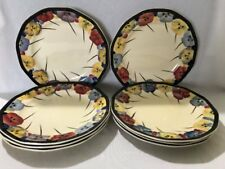 "**RARE** 8 x Royal Doulton 'Pansy' 7"" Side Plates (D4049)"