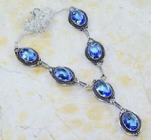 "BEAUTIFUL NEW FLAWLESS FACETED SWISS BLUE TOPAZ  925 SILVER Y NECKLACE 20"" LONG"