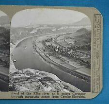 Stereoview Photo Czechoslovakia Bend Elbe River As It Enters Germany Realistic