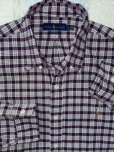Ralph Lauren LARGE PURPLE PLAID Classic Fit Button Down MENS Shirt
