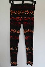 Women's LuLaRoe Black Leggings Tribal Aztec Orange Red Maroon OS