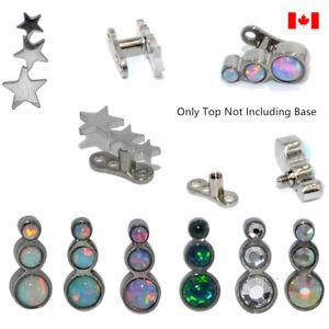 1PC 16G Titanium steel Base Micro Dermal Anchor Opal Trio Star CZ Gem Skin Diver