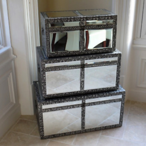 Silver Colour Embossed Mirrored Trunks Storage Chest Blanket Boxes Organiser