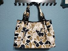 Fossil Large Shopper Tote Purse Floral With Black Patent & Tortoise Shell Accent