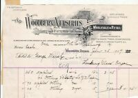 U.S. The Woodburn Nurseries Oregon 1907 Apples Selection Paid Invoice Ref 42786