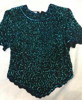 Top Laurence Kazar vintage evening Beads Sequins 100%-Silk Beautiful XL