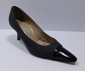 MANOLO BLAHNIK Women's Gray W Patent Leather Heel & Pointed Toe Heel Shoe Sz 39