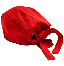 Red Chef Hat Adjustable Tie Back Cap Catering Cap Kitchen Cook Food Baker Hat