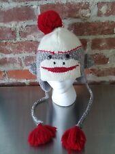 Dock Monkey Beanie Hat Delux Knitwits Adult One Size Wool Blend Pom Tassel EUC