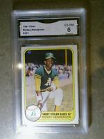 RICKEY HENDERSON 1981 Fleer #351 Vintage Graded Card GMA 6 OAKLAND ATHLETICS