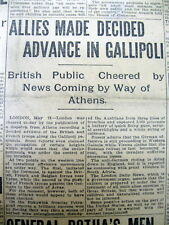 4 1915 Ww I newspapers Gallipoli Campaign Begins as Anzac Forces land in Turkey