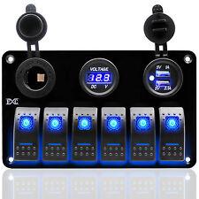 6 Gang Aluminium LED Rocker Switch Control Panel Circuit Breaker Car Marine Boat