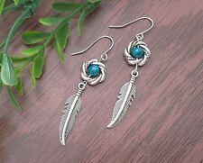Azurite Chrysocolla & Round Twist Tibetan Long Drop Dangle Feather Earrings~Boho