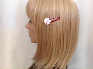 Red white polka dot fabric button hair snap clip rockabilly pin up girl pretty