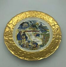 "Vintage State Collector Plate California Tourist Sites 9.25"" 1950s -Crown-O-Gold"