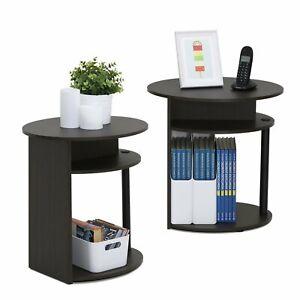 Set of 2 Wooden Oval End Tables Rack Side Corner Storage Unit Shelves Any Room