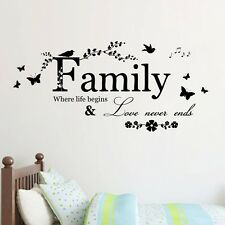 Family Beautiful Tree Love Never ends Art Vinyl Wall Stickers Home Wall Decals