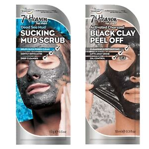 7th Heaven Mens Peel Off Face Masks Detox Cleansing & Exfoliating With Charcoal