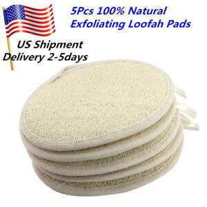 5pcs Exfoliating Loofah Pads 100% Natural Luffa Loofa Body Sponge Scrubber Brush