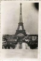 PHOTO ANCIENNE - VINTAGE SNAPSHOT -EXPOSITION UNIVERSELLE PARIS TOUR EIFFEL 1937
