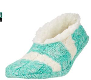 Field & Stream -Yaktrax Women's Cabin Sock Cozy Slipper Socks Green & White NEW