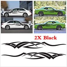 New 2Pcs Black Flame Graphics Car Decal Vinyl Graphics Side Body Stickers Decals