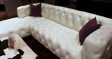 "118"" sectional bright white top grain leather Tufted RSF sofa LSF chaise"