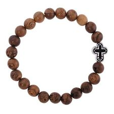 Olive Wood Beaded Cross Bracelet Gethsemane Collection (D1213)