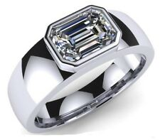 2.00 CT Solitaire White Emerald Cut Diamond Mens Engagement Ring 925 Silver