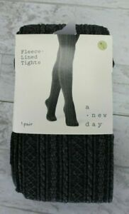 A New Day Women's Fleece-Lined Tights Size M/L - Charcoal Gray, One Pair