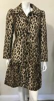 Charles Gray London Faux Fur Cheetah Leopard Print Fit & Flare Jacket Coat Sz L