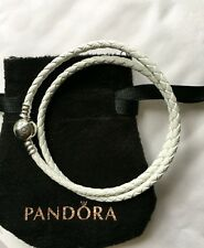 pandora white/ivory leather double bracelet 38cm long