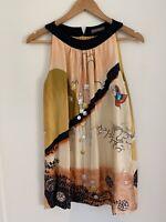 Easton Pearson Dress Gold Asian Dream Orange Butterfly Moon Black Silk RARE 6 S