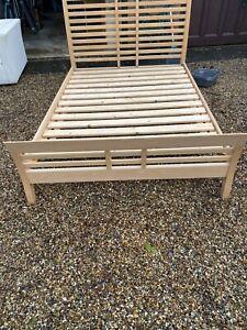 Double 4ft6 Bed Frame  Wooden Bedstead Slats Bedroom Furniture