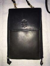 Vintage CHARTER CLUB GENUINE BLACK Leather TRAVEL BAG/HANDBAG/PURSE