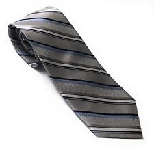 ENGLISH LAUNDRY Men's Silver Blue White Striped Luxury Silk Tie NWT