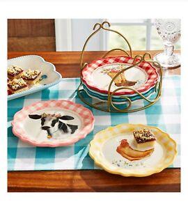 Pioneer Woman Novelty Gingham Medley Farm Animal Appetizer Plates & Rack 7 Piece