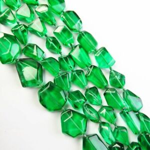 "1Strand 57.4g Faceted Green Titanium Crystal Freeform Loose Bead 15.5"" YJSH6834"