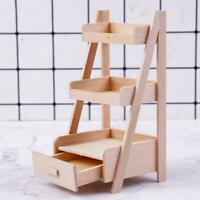 Three-tiered Wood Flower Stand Snack Rack 1:12 Doll House Toy Kids Miniatur A9G1