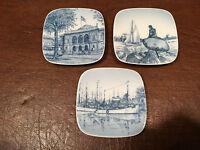 Set 3 Vintage BING & GRONDAHL (B&G) Miniature Square Porcelain COLLECTORS PLATES