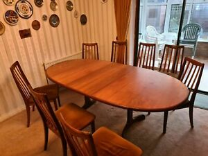 Vintage Retro MCM G Plan Fresco Teak Extending Dining Table and 8 Chairs