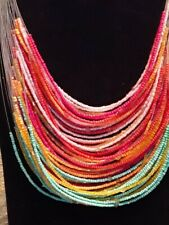 Women's Beaded Necklace 28 strand multi color beads by Lifestyle Studios tr114