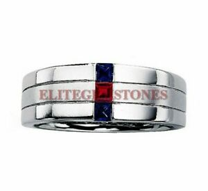 Natural Ruby & Blue Sapphire Gemstone with 925 Sterling Silver Ring for Men 1708