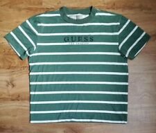 Vintage Guess Striped Los Angeles T-shirt Green White Sz Small Men's Distressed