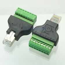 1pce Ethernet 8P8C RJ45 male plug to AV Terminal Connector Adapter CCTV Radio