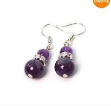 Beads Earring Silver Stud Aaa New Natural 8-10mm Russian Amethyst Gemstone