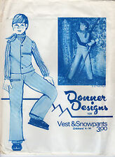 "1973 Donner Designs Sewing Pattern #109 ""Vest & Snowpants"" Childrens' 4 - 14"