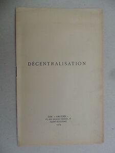 Décentralisation simplification fusion - J. Régné article paru dans Amitiés 1934