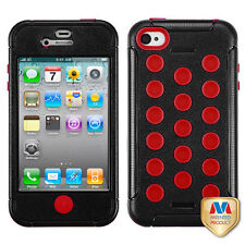 For iPhone 4 4S Rubber IMPACT DOTS TUFF HYBRID Case Skin Phone Cover Black Red