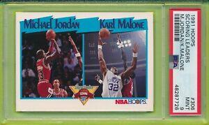 1991 Hoops MICHAEL JORDAN KARL MALONE #306 PSA 9 Mint Scoring Leaders Bulls 7726